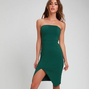 Lulus Green Strapless Bodycon Dress - Size S